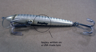 bagley written on USA made lure